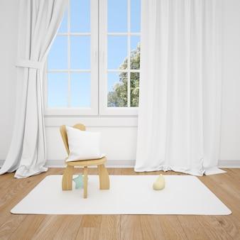 Kinderkamer met kleine stoel en wit venster