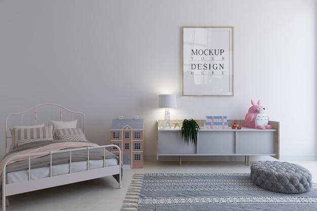 Kinderkamer met mockup-ontwerp posterframe