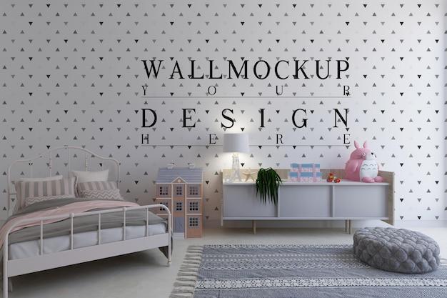 Kinderkamer met mockup-ontwerpmuur