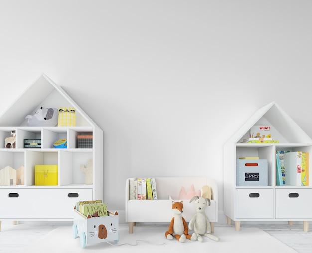 Kinderkamer met planken en speelgoed
