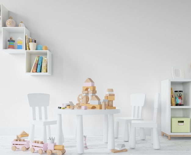 Kinderkamer met speelgoed en planken
