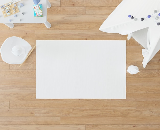Kinderkamer met wit tapijt en tipi