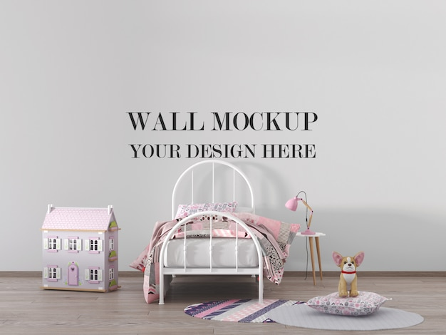 Kinderkamer muurmodel met meubels en poppenhuis