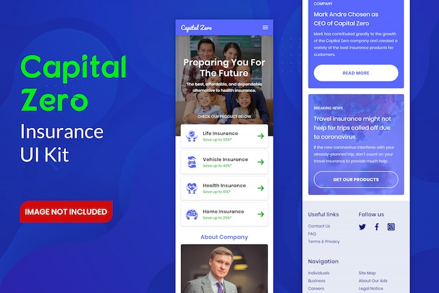 Kit dell'interfaccia utente di capital zero insurance