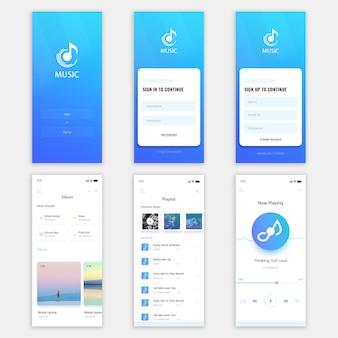 Kit dell'interfaccia utente di music mobile app