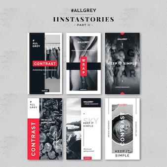 Kit di modelli di storia instagram grigio
