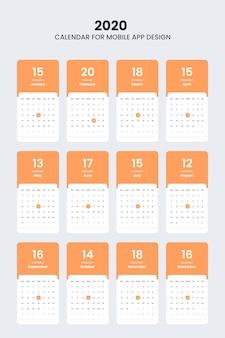 Kit de interfaz de usuario del calendario 2020 para diseño de interfaz de usuario de aplicaciones móviles