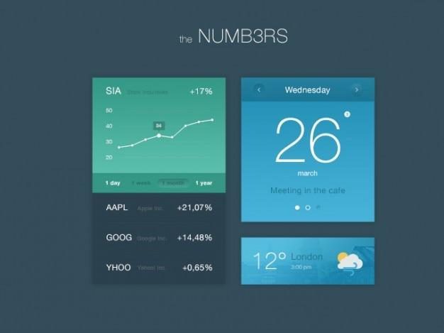 Kit ui plana con gráficos y números