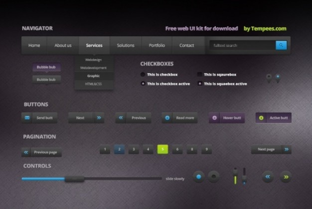 Kit web ui in stile dark