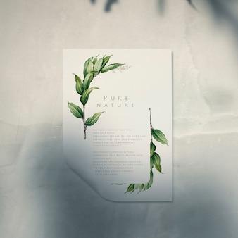 Klaar om poster mockup met een blad te gebruiken