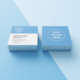 Klaar om te gebruiken twee stapel vierkante realistische visitekaartje mockup ontwerpsjabloon vooraan perspectief bekijken