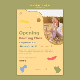 Klasse schilderij flyer sjabloonontwerp