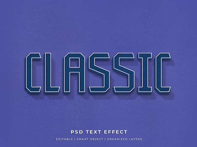 Klassiek blauw 3d teksteffect