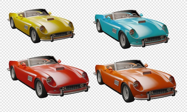 Klassieke auto's collectie kleurrijke auto's 3d-rendering