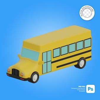 Klassieke schoolbus 3d-object isometrisch
