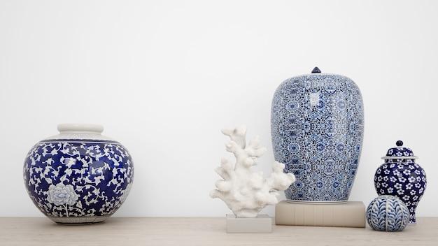 Klassieke vazen voor interieurdecoratie en witte muur