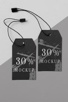 Kleding moderne zwarte tag mock-up