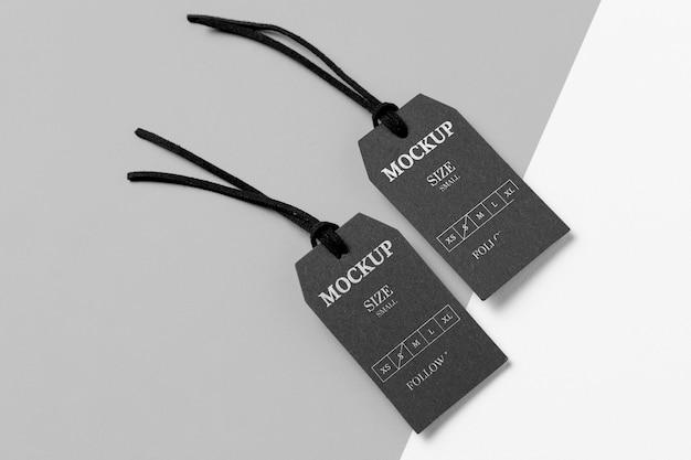 Kleding zwart maat tag mock-up kopie ruimte