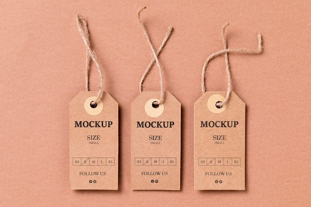 Kledingmaat label mock-up plat leggen