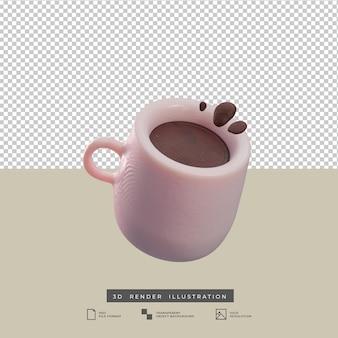Klei stijl koffiemok 3d illustratie geïsoleerd