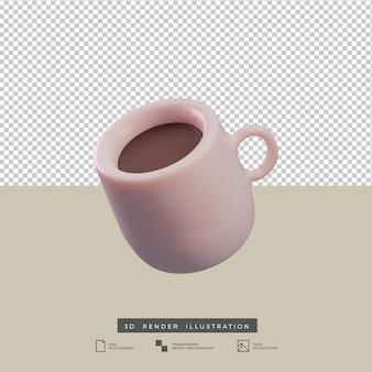 Klei stijl koffiemok zijaanzicht 3d illustratie