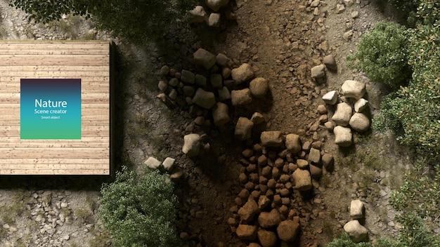 Klein houten platform in de buurt van beekjes en planten langs de rivier beekomgeving bovenaanzicht