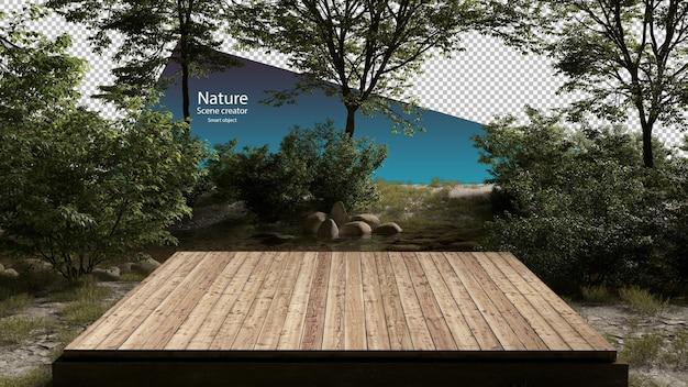 Klein houten platform in de buurt van beekjes en rivierplanten stroomomgeving stream
