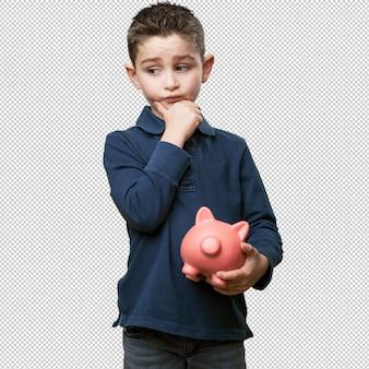 Klein kind denken met spaarvarken