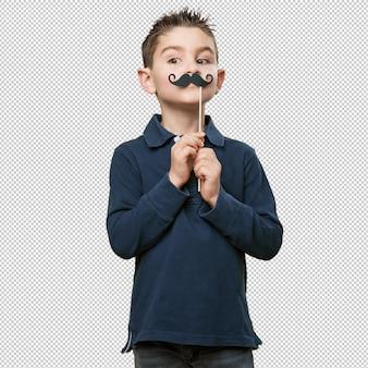 Klein kind een grapje met een snor