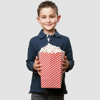 Klein kind eet popcorns