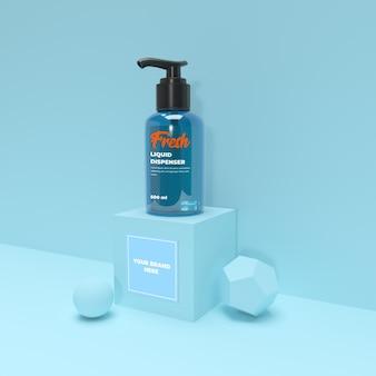 Kleine dispenser met blauw pastel mockup