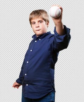 Kleine jongen honkbal spelen