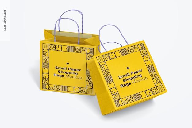 Kleine papieren boodschappentassen mockup