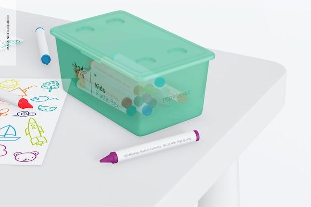 Kleine plastic doos voor kinderen met dekselmodel