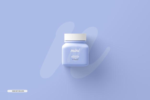 Kleine vierkante pil supplement fles mockup