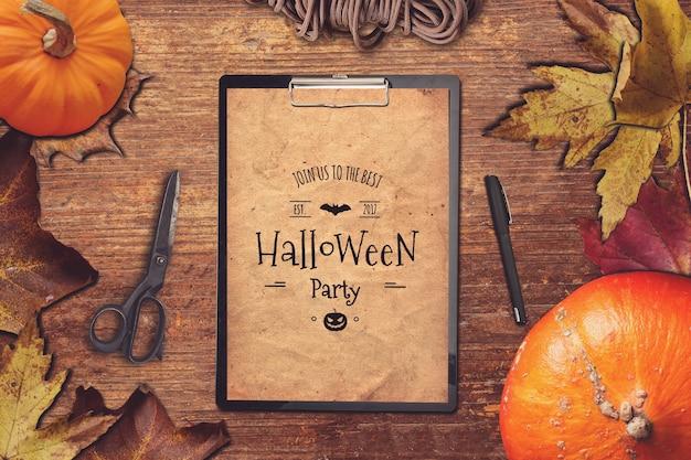 Klembord mockup met halloween ontwerp