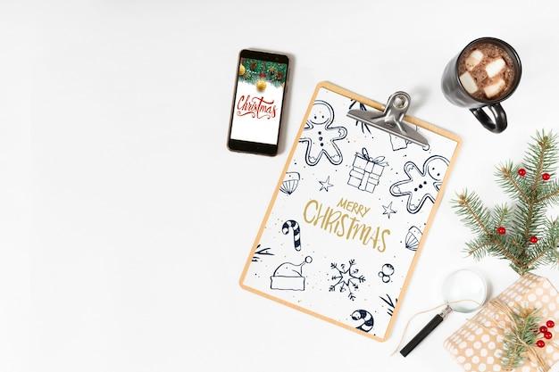 Klembordmodel met kerstmissamenstelling