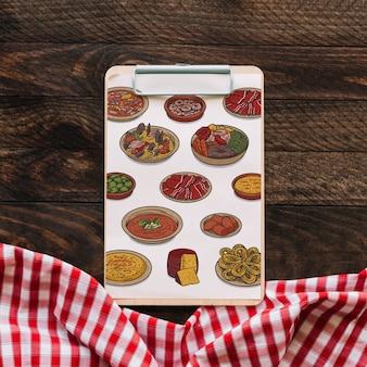 Klembordmodel met voedselconcept