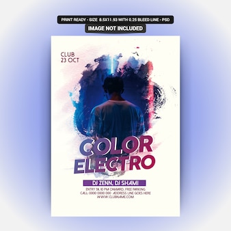 Kleur electro party flyer