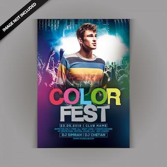 Kleur fest party flyer
