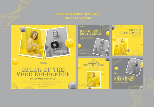 Kleur van het jaar posts op sociale media