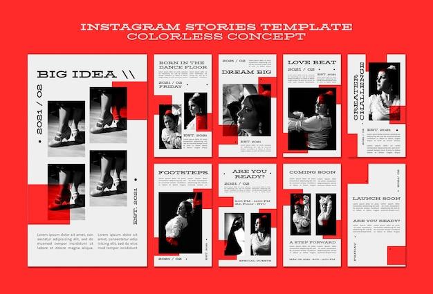 Kleurloze concept instagramverhalen Premium Psd