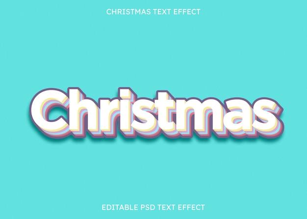 Kleurrijk bewerkbaar kerstteksteffect op cyaanachtergrond