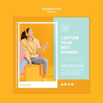 Kleurrijk digitalisme vierkante flyer-sjabloon