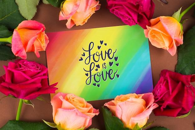 Kleurrijk kaartmodel met rozen