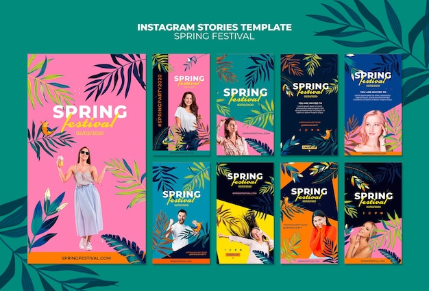 Kleurrijk lente instagram verhalenpakket
