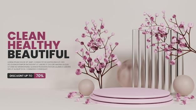 Kleurrijk natuurlijk podium met glas en rozen