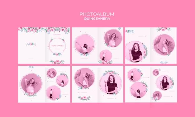 Kleurrijk quinceañera jubileumfotoalbum