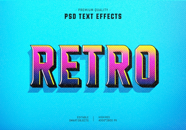 Kleurrijk retro tekststijleffect