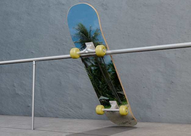 Kleurrijk skateboard dat op staalstaaf legt